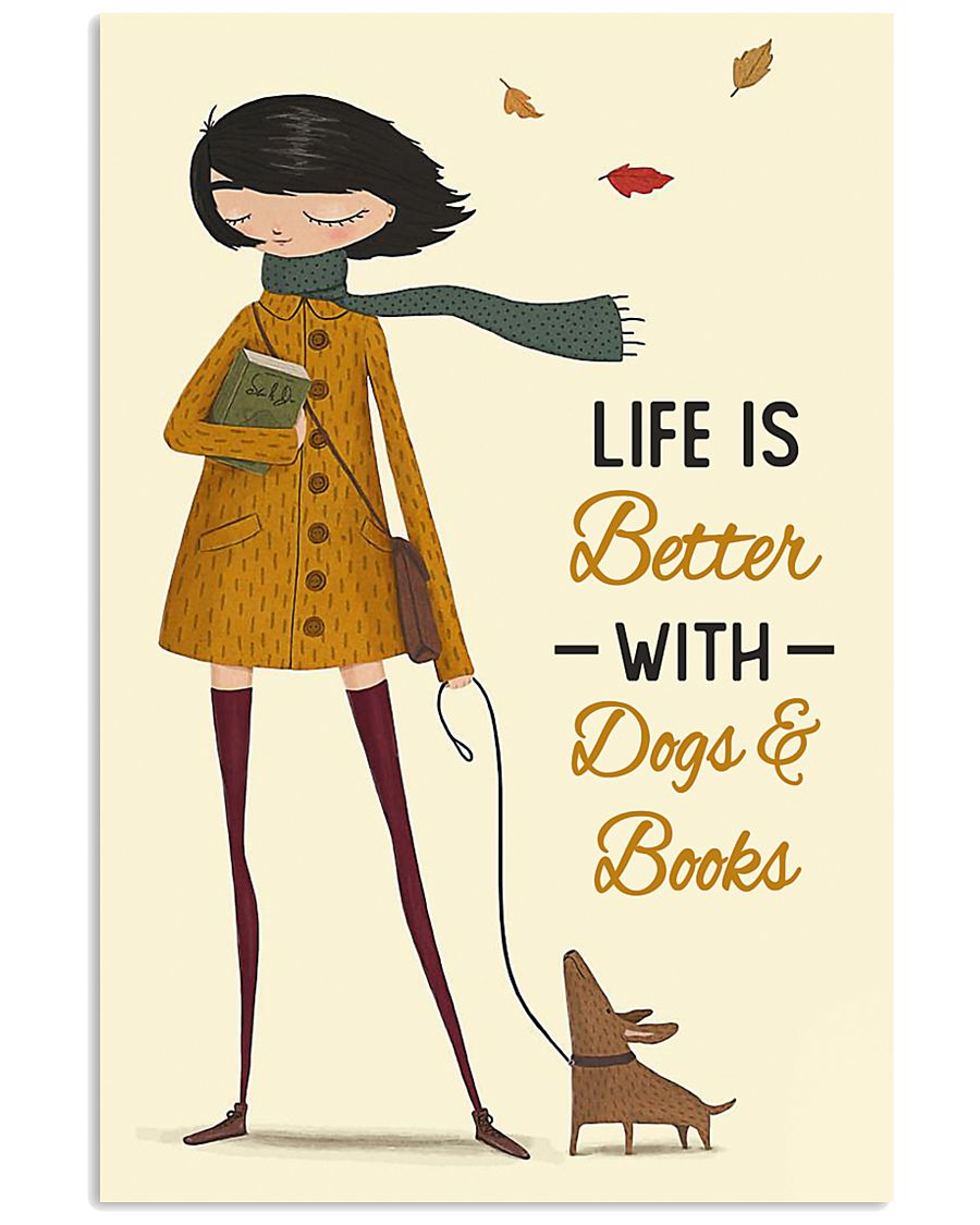 Autumn Girl Life Is Better Dog Book 11x17 Poster