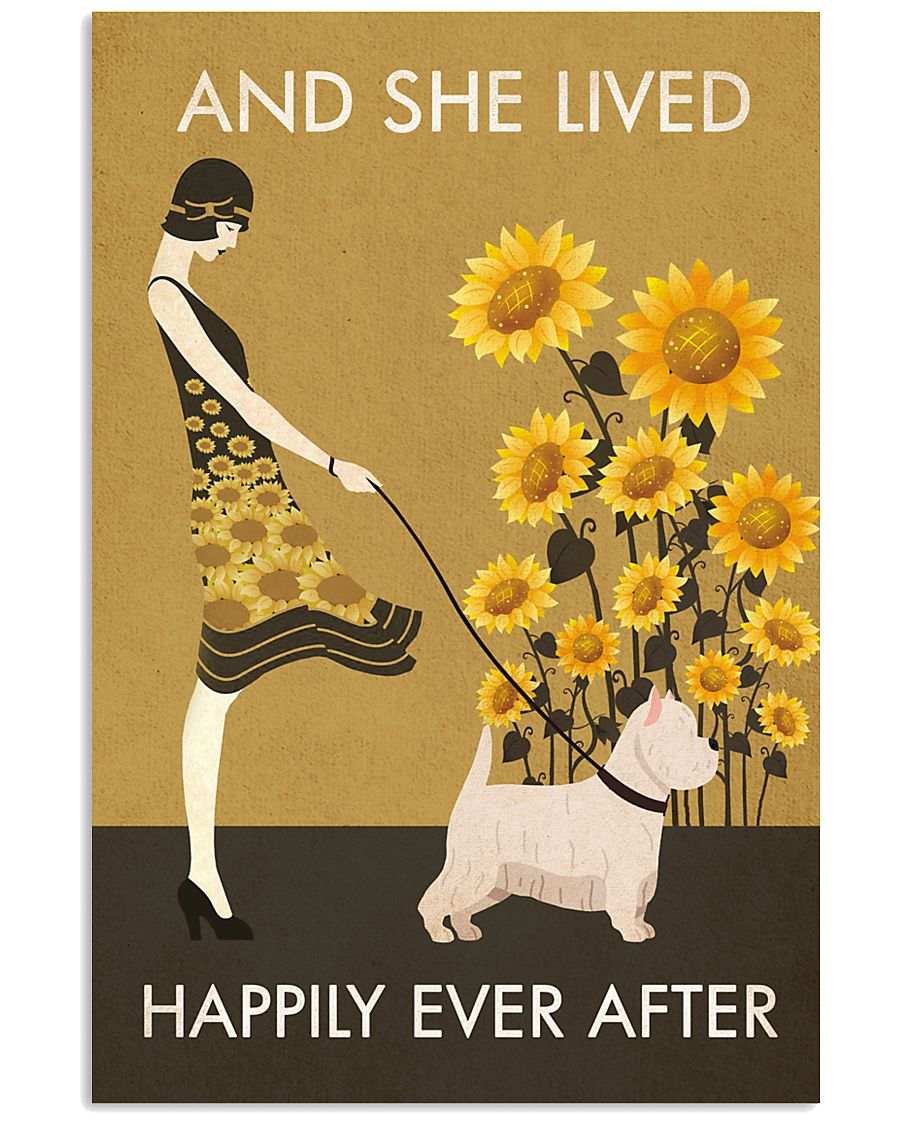 Sunflower Vintage Girl Lived Happily Westie 11x17 Poster