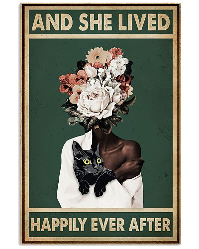 Retro Teal Live Happily Ever After By Black Cat