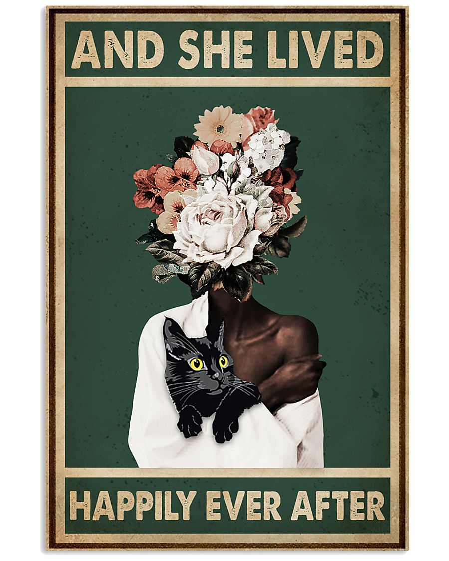 Retro Teal Live Happily Ever After By Black Cat  11x17 Poster