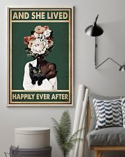 Retro Teal Live Happily Ever After By Black Cat  11x17 Poster lifestyle-poster-1
