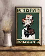 Retro Teal Live Happily Ever After By Black Cat  11x17 Poster lifestyle-poster-3