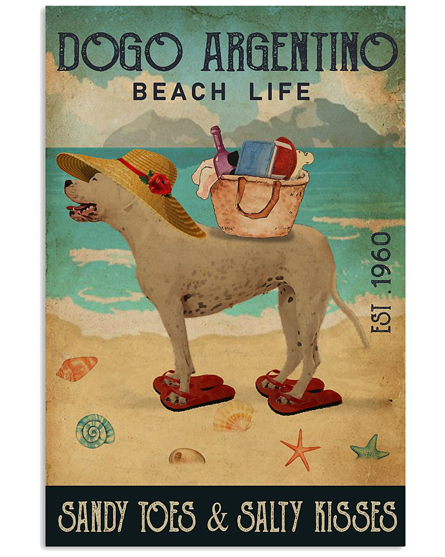 Beach Life Sandy Toes Dogo Argentino 11x17 Poster
