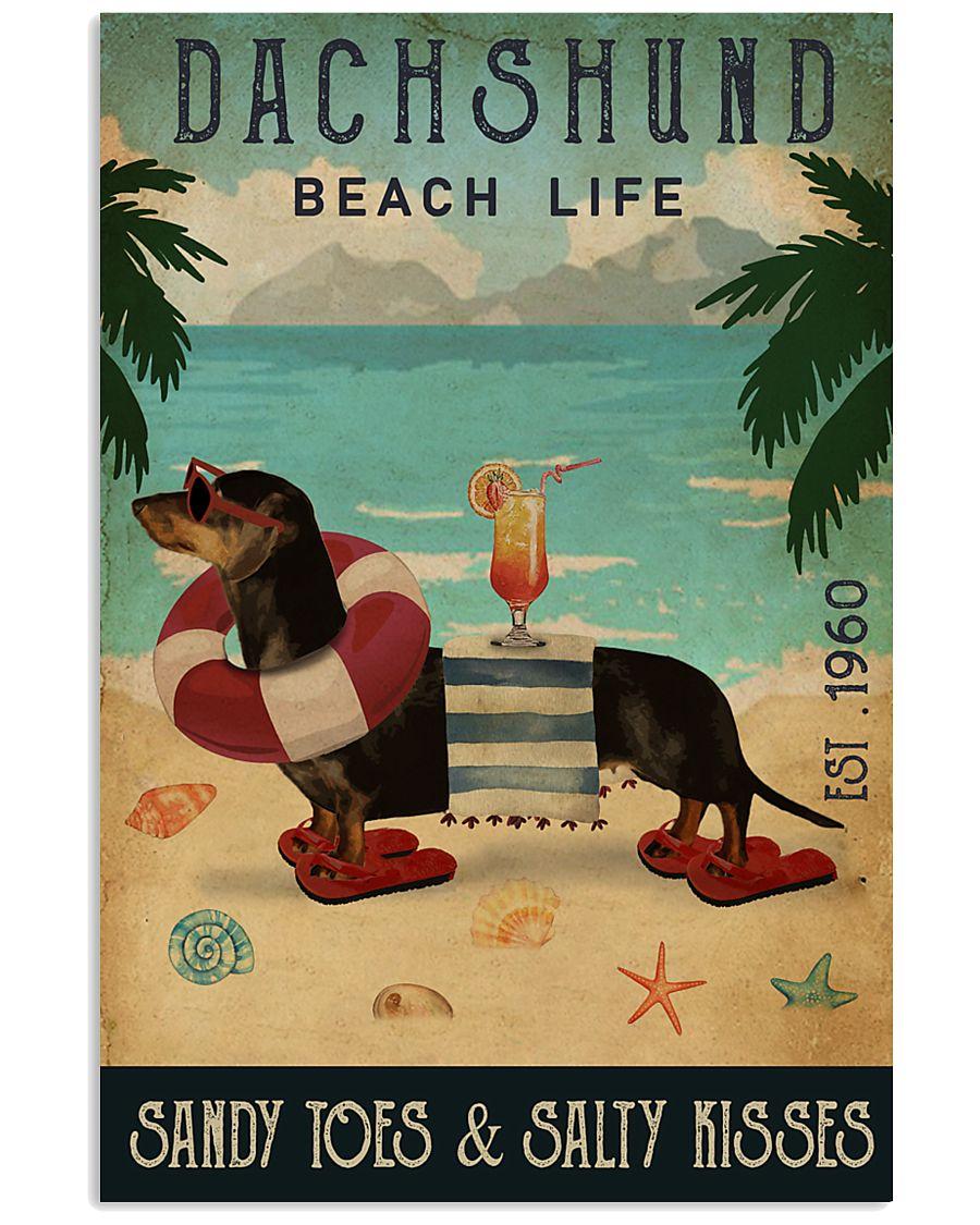 Vintage Beach Cocktail Life Dachshund 11x17 Poster