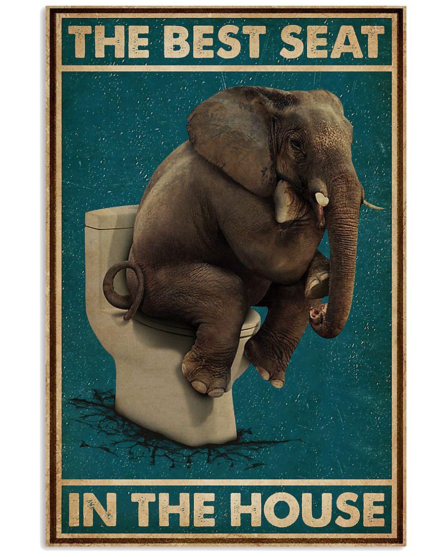 Retro Green Toilet Thinking Elephant Best Seat 16x24 Poster