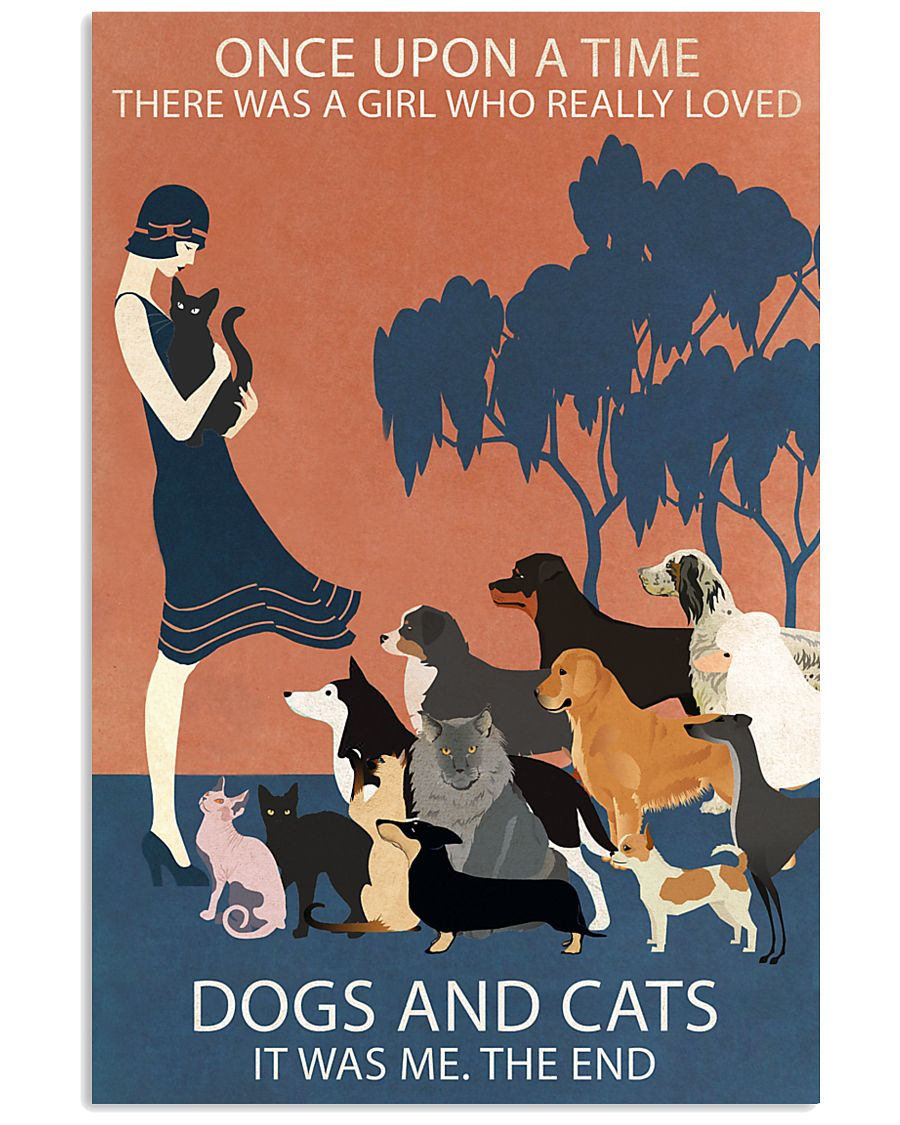 Vintage Girl Once Upon A Time Dog And Cat 11x17 Poster