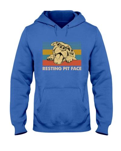 Resting Pit Face Pitpull Retro Blue