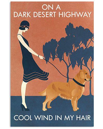 Vintage Girl Dark Desert Highway Golden Retriever
