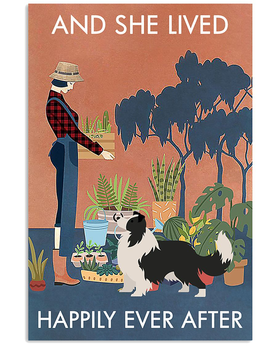 Vintage Lived Happily Gardening Border Collie 11x17 Poster