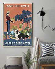 Vintage Lived Happily Gardening Border Collie 11x17 Poster lifestyle-poster-1