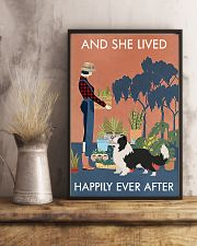 Vintage Lived Happily Gardening Border Collie 11x17 Poster lifestyle-poster-3