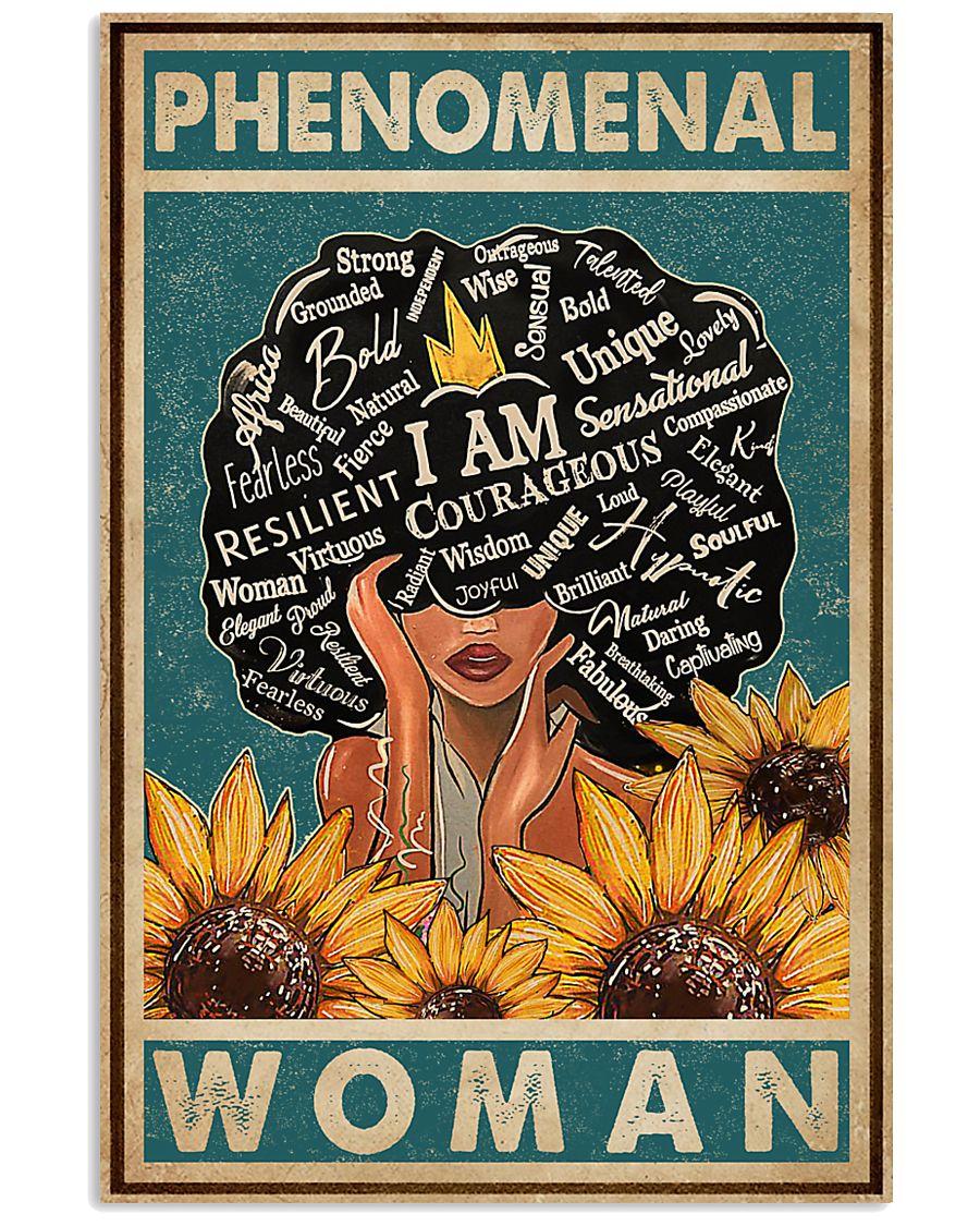 Retro Teal Sunflower Black Phenomenal Woman 11x17 Poster