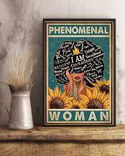 Retro Teal Sunflower Black Phenomenal Woman 11x17 Poster lifestyle-poster-3