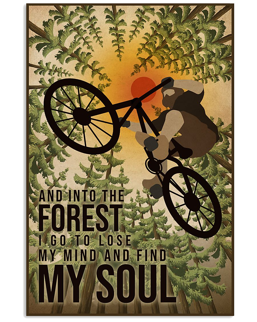 Retro And Into The Forest Mountain Bike 11x17 Poster
