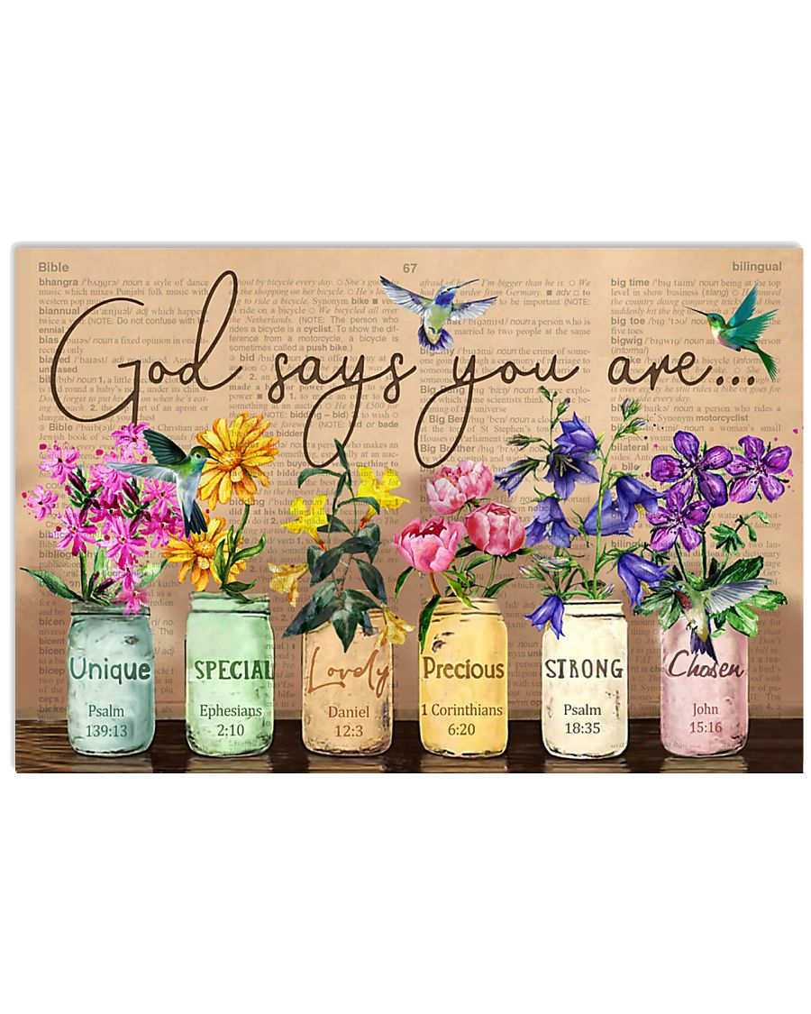 Hummingbird Bible God Say You Are Flowers 17x11 Poster