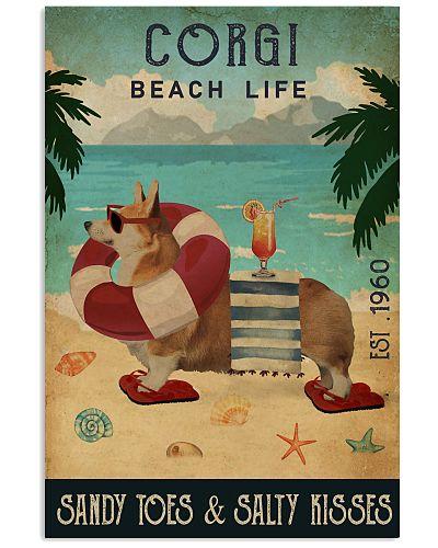 Vintage Beach Cocktail Life Corgi