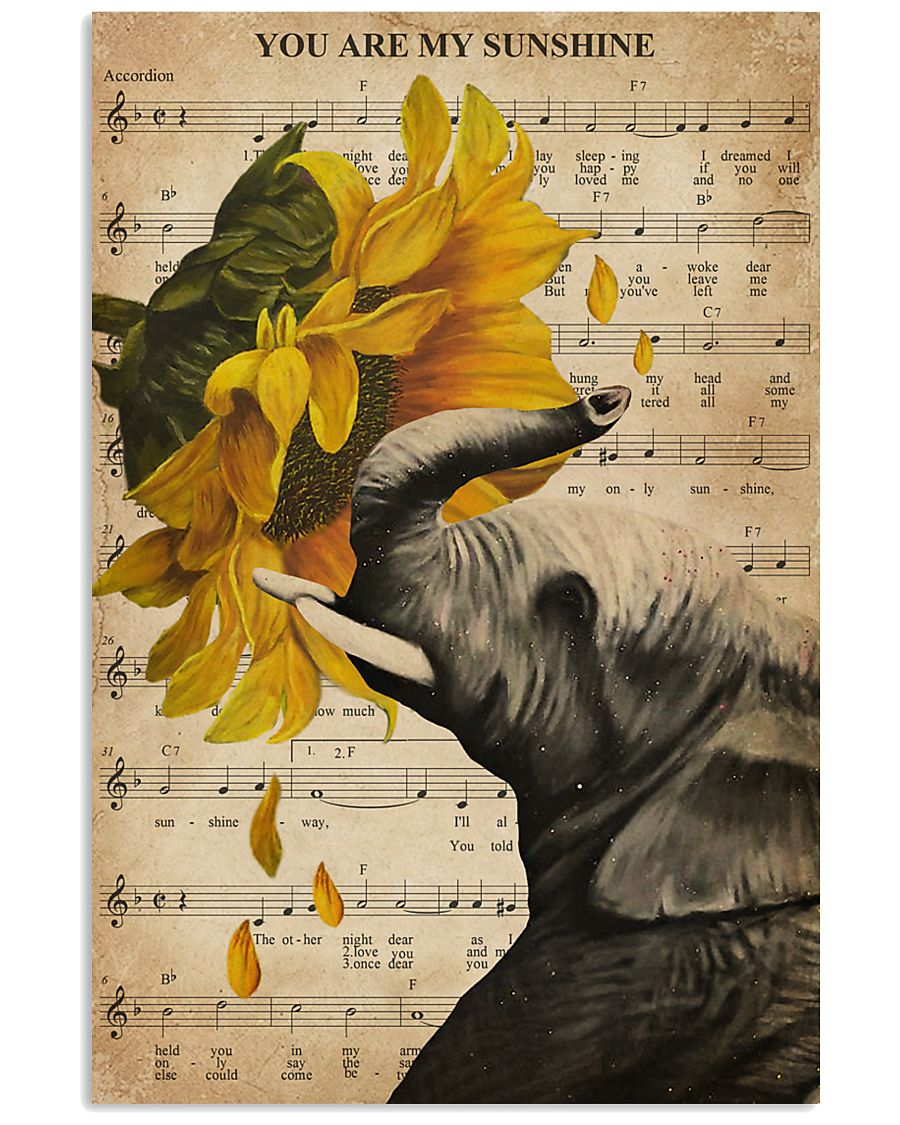Music Sheet Sunflower My Sunshine Elephant 11x17 Poster