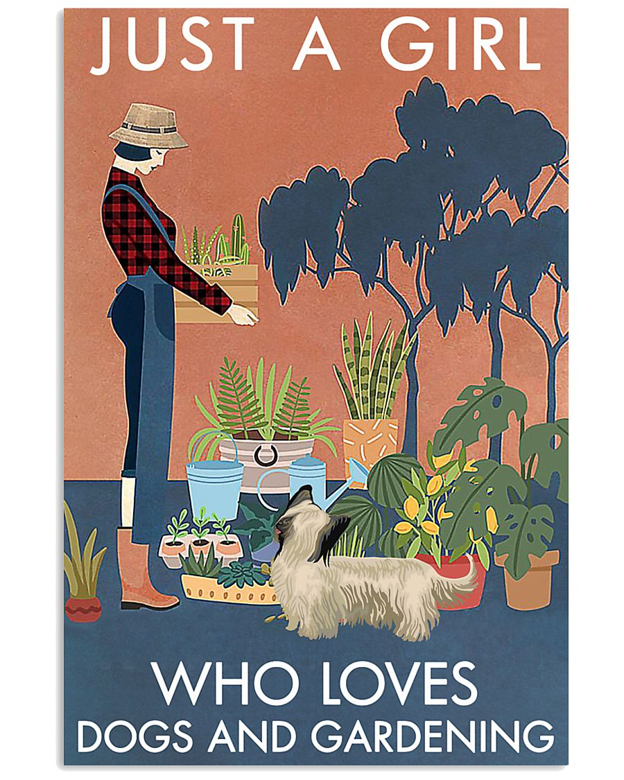 Vintage A Girl Loves Gardening And Skye Terrier 11x17 Poster