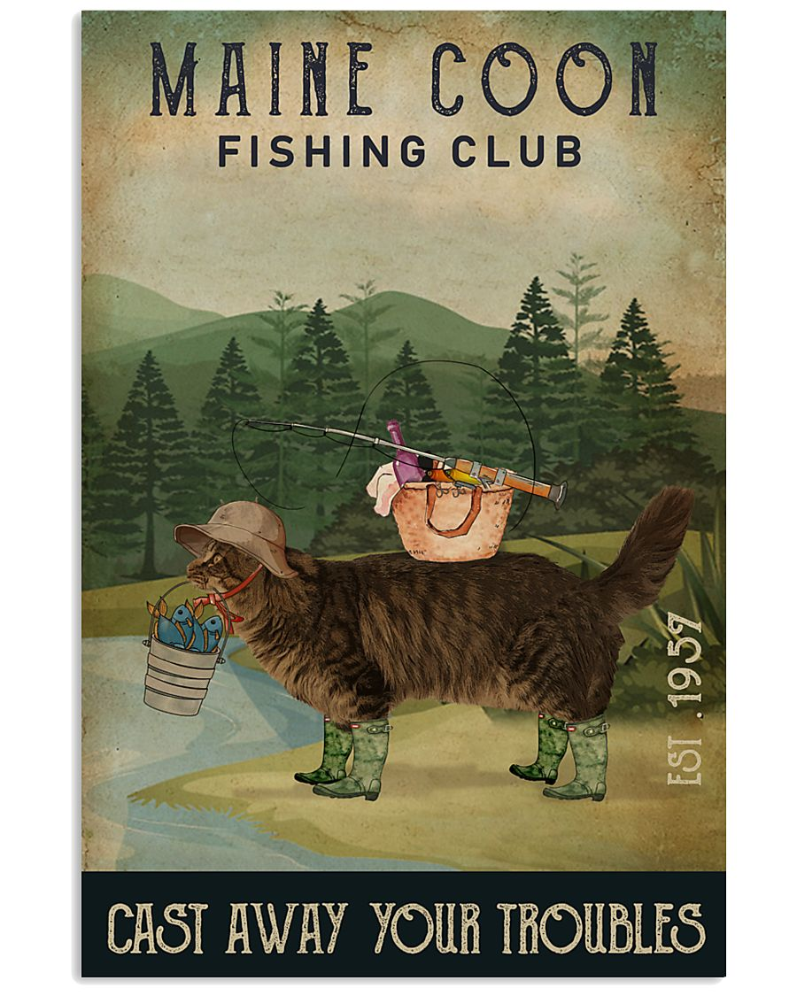 Fishing Cast Away Maine Coon 16x24 Poster