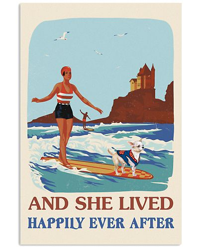 Retro She Lived Happily Surfing Girl Chihuahua