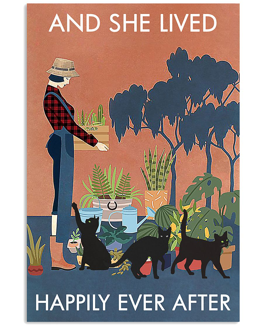 Vintage And She Lived Happily Gardening Black Cat 11x17 Poster