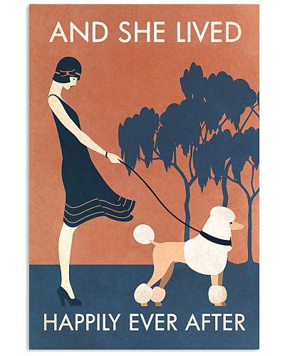 Vintage Girl She Lived Happily Poodle