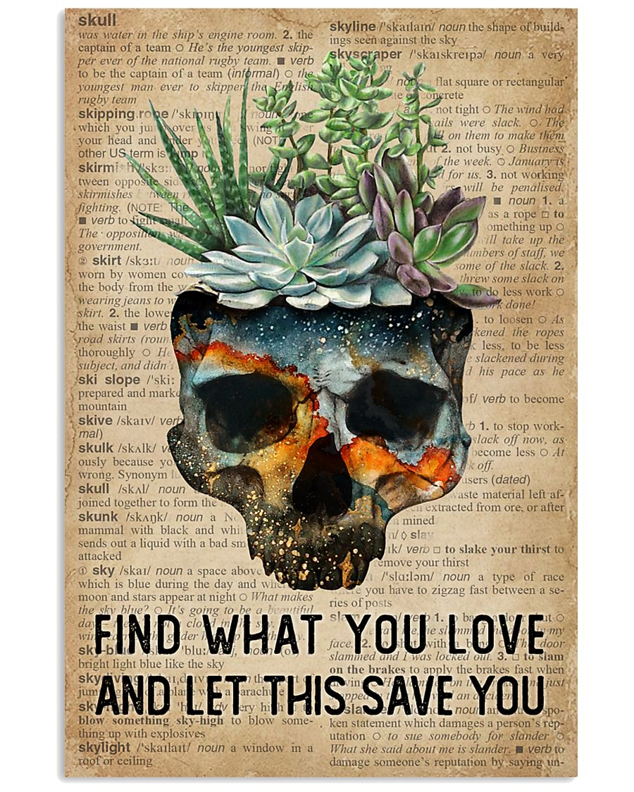 Blue Earth Find What You Love Skull Succulent 11x17 Poster