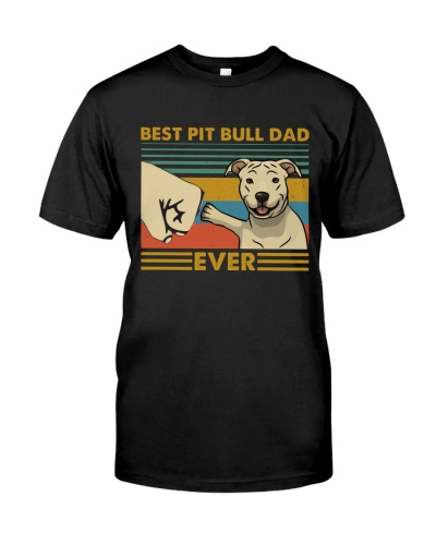 Retro Blue Best Pit Bull Dad Ever