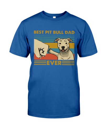 Retro Blue Best Pit Bull Dad Ever