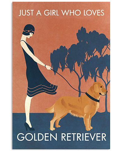 Vintage Girl Who Loves Golden Retriever