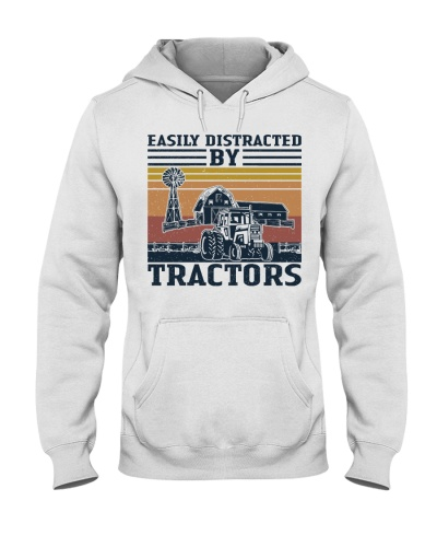 Easily Distracted By Tractors Retro Navy