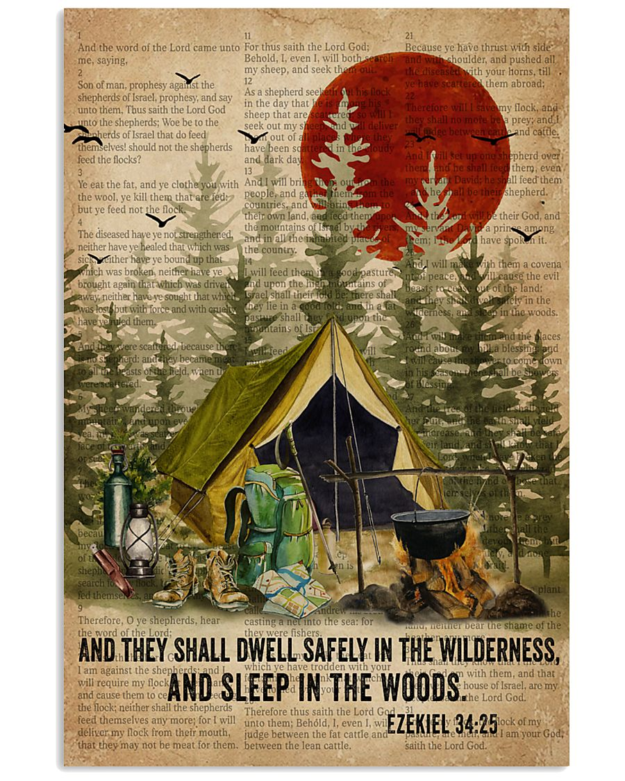 Forest Bible Sleep In The Woods Camping 16x24 Poster