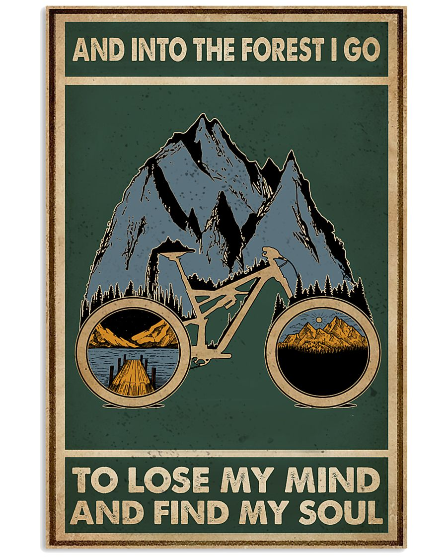 Retro Green Into The Forest Cycling 11x17 Poster