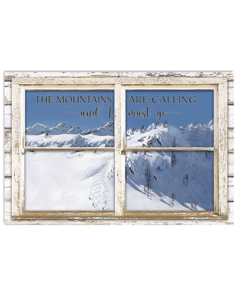 Window The Mountains Are Calling Skiing 24x16 Poster