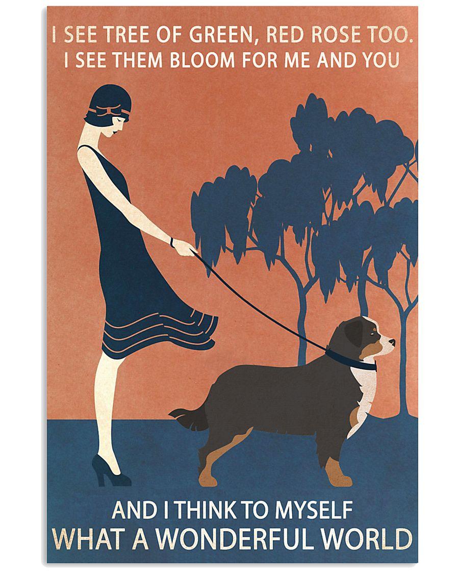 Vintage Girl Wonderful World Bernese Mountain Dog 11x17 Poster