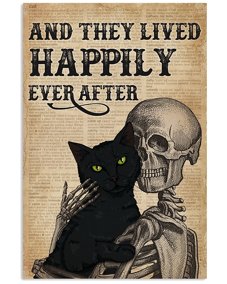 They Lived Happily Black Cat Skeleton 11x17 Poster