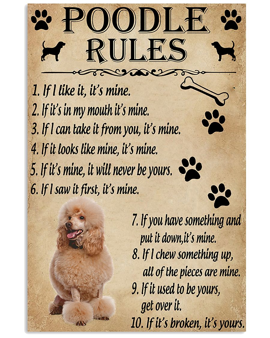 Funny Rules For Your Dog Poodle 11x17 Poster