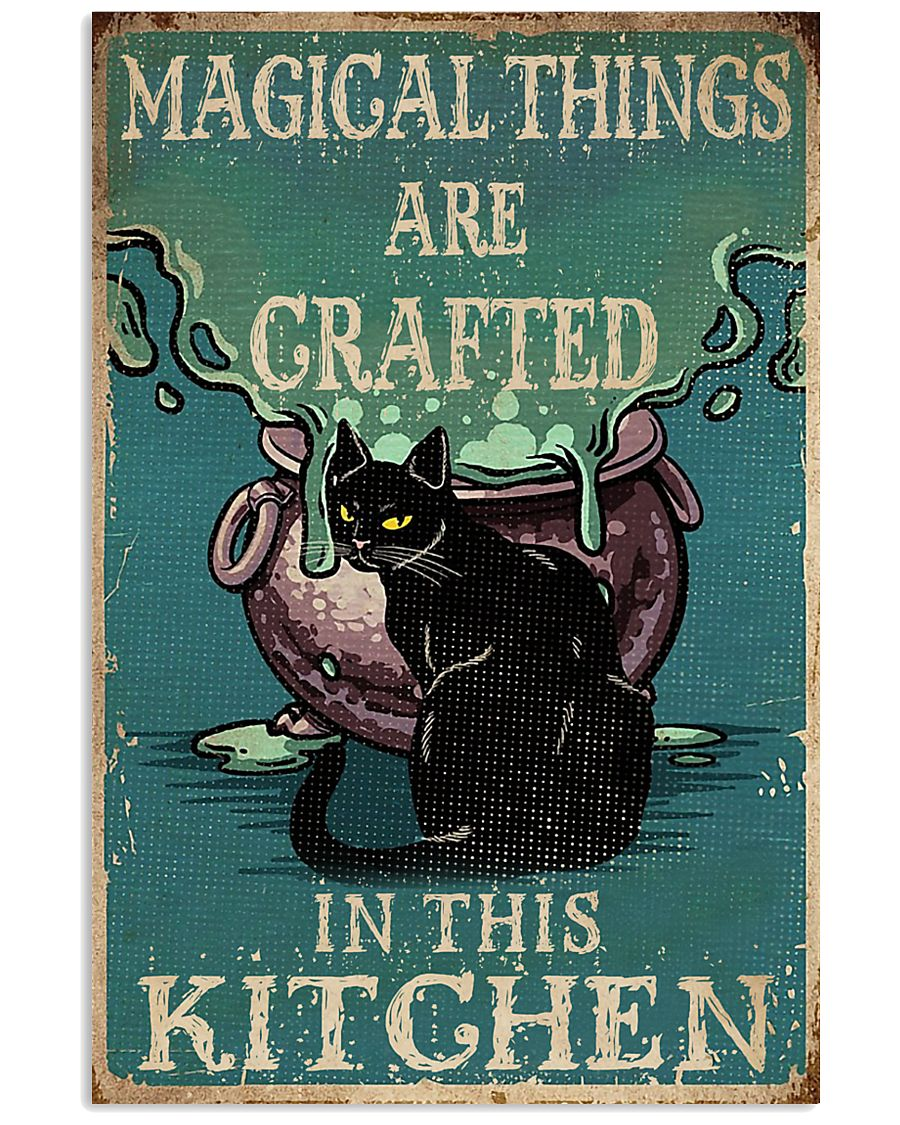 Retro Black Cat Magical Things Crafted In Kitchen 16x24 Poster