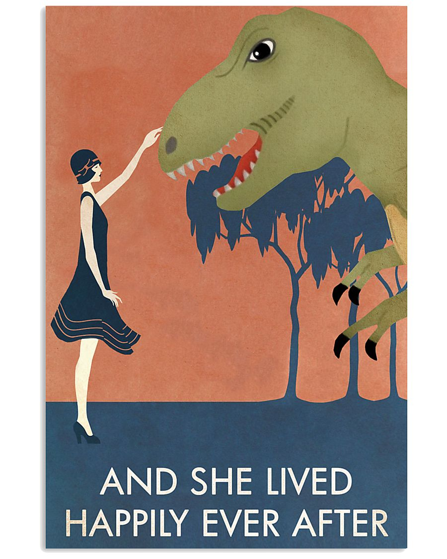 Vintage Girl She Lived Happily Dinosaur 11x17 Poster
