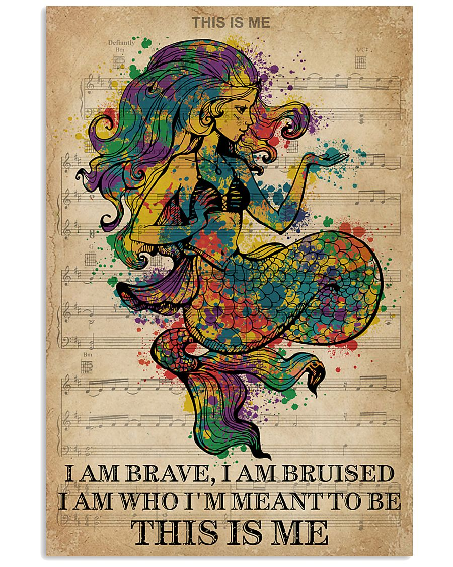 Vintage Music I Am Brave Pride Mermaid 11x17 Poster