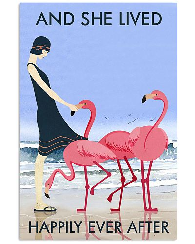 Beach And Flamingo Lived Happily