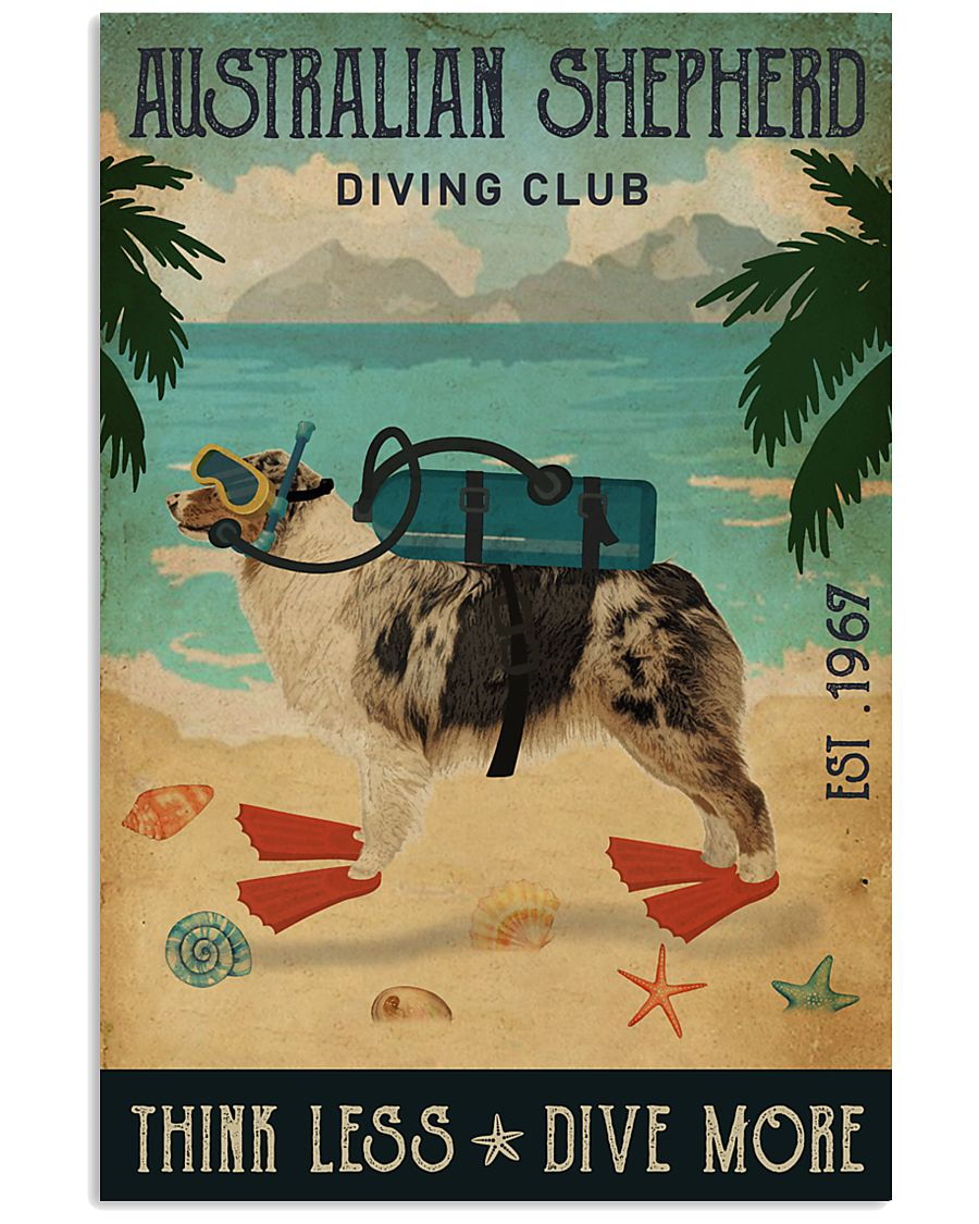 Vintage Diving Club Australian Shepherd 11x17 Poster