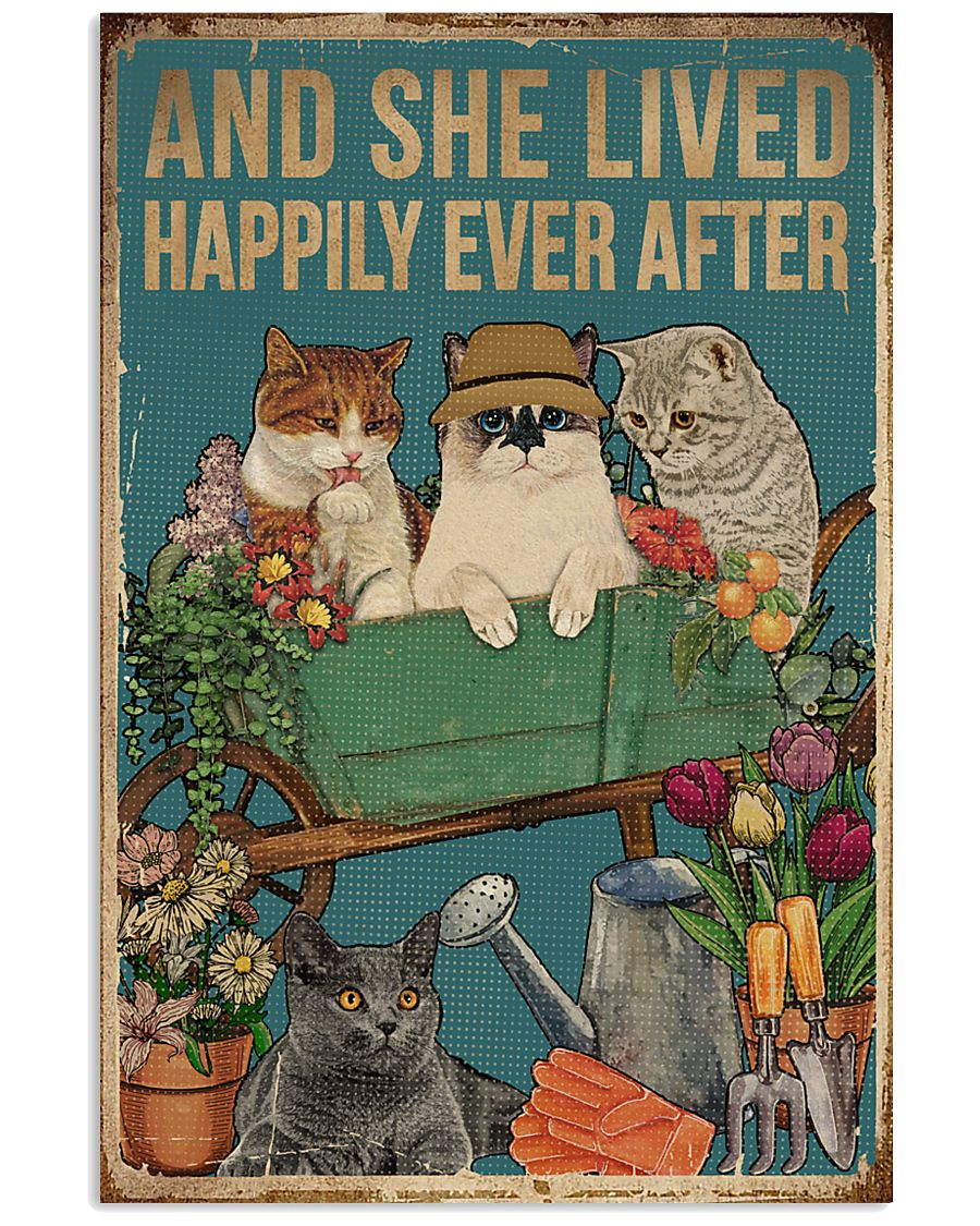 Retro Lived Happily Cats And Garden 11x17 Poster