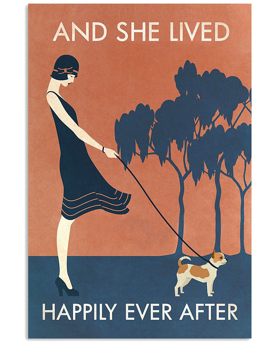 Vintage Girl She Lived Happily Chihuahua 11x17 Poster