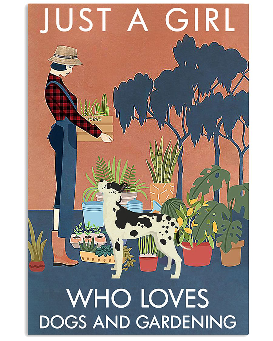 Vintage Girl Loves Gardening And Great Dane 11x17 Poster