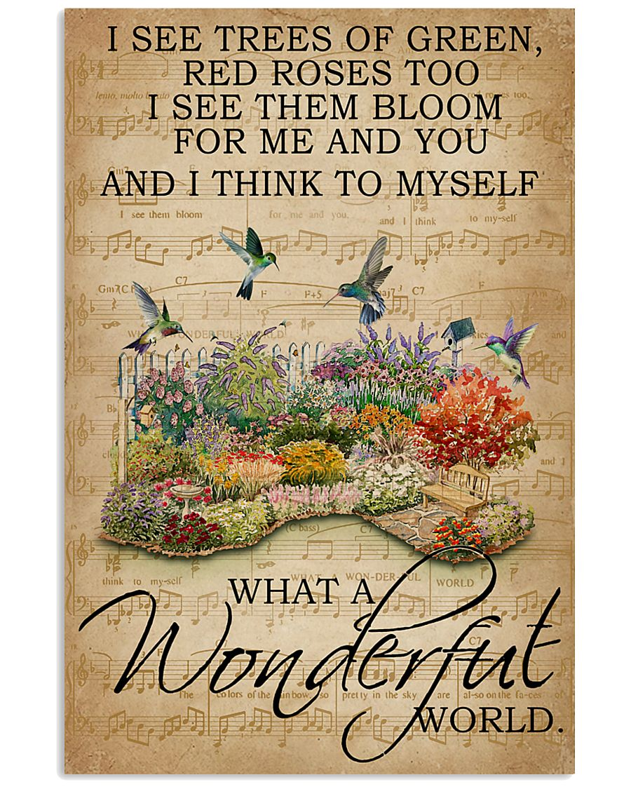 Floral Music Sheet Wonderful World Hummingbird 16x24 Poster