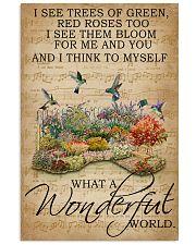Floral Music Sheet Wonderful World Hummingbird 16x24 Poster front