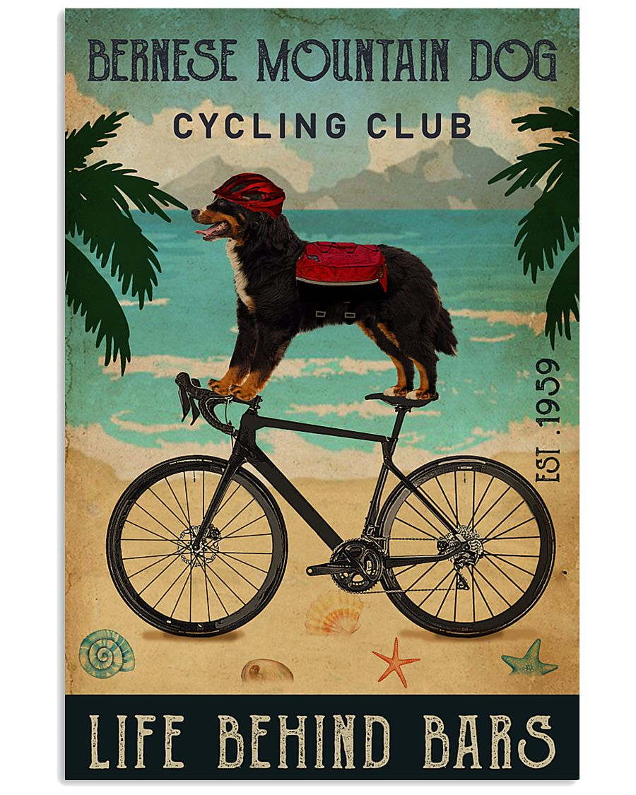 Cycling Club Bernese Mountain Dog 11x17 Poster