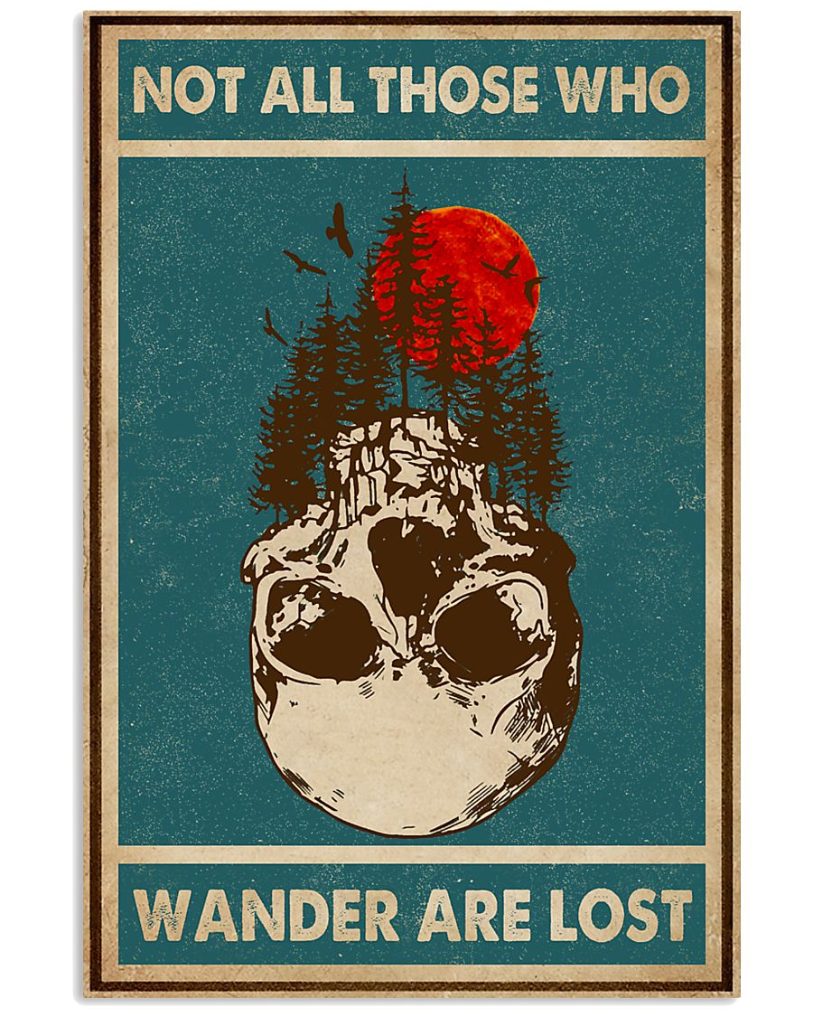 Retro Green Skull Not All Those Who Wander 11x17 Poster