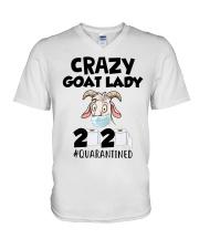 Crazy Goat Lady 2020 quarantined V-Neck T-Shirt thumbnail